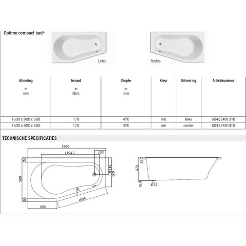 Sealskin Get Wet Optimo compactbad 160x90 cm links
