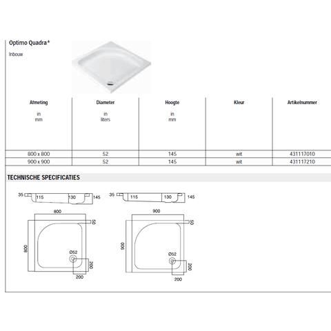 Sealskin Get Wet Optimo Quadra douchebak inbouw 90x90 cm vierkant