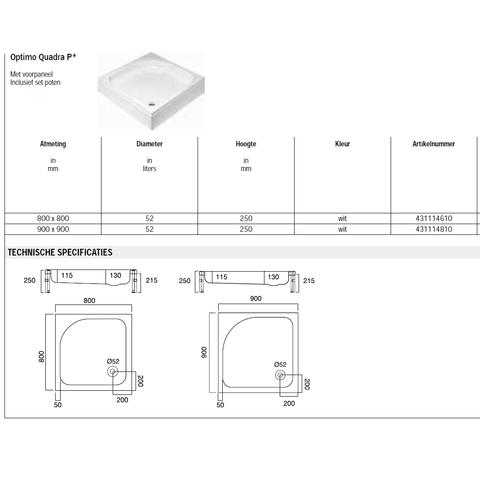 Sealskin Get Wet Optimo Quadra P douchebak opbouw 80x80 cm vierkant