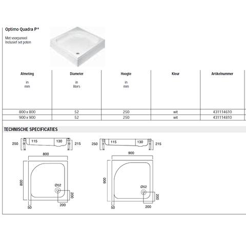 Sealskin Get Wet Optimo Quadra P douchebak opbouw 90x90 cm vierkant