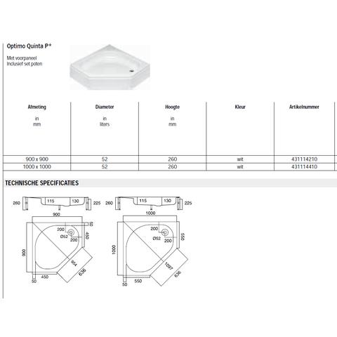Sealskin Get Wet Optimo Quinta P douchebak vijfhoek opbouw 100x100 cm