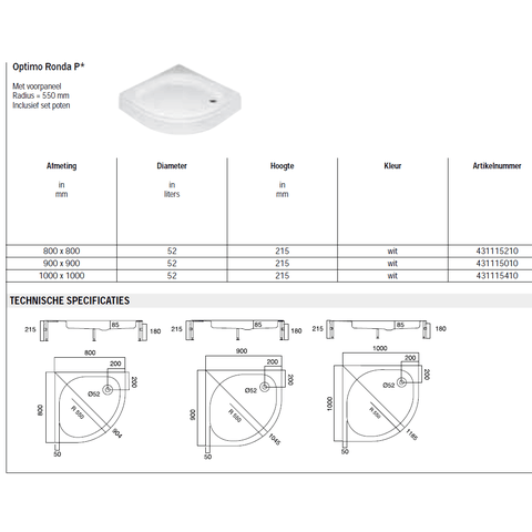 Sealskin Get Wet Optimo Ronda P douchebak kwartrond opbouw 100x100 cm