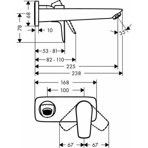 Hansgrohe Talis E afdekset voor wastafelkraan 225 mm. chroom