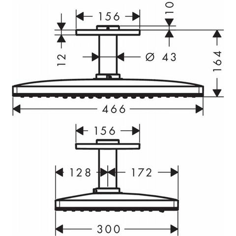 Hansgrohe Rainmaker Select 460 afdekset 2jet hoofddouche met plafondarm wit-chroom