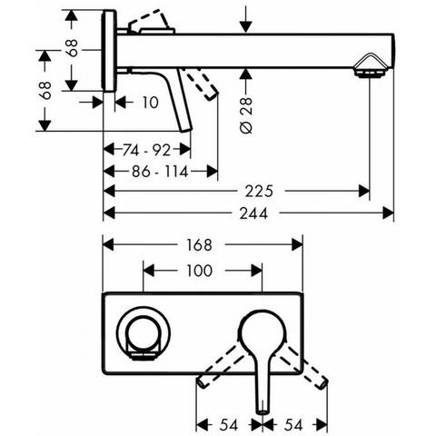 Hansgrohe Talis S afdekset voor wastafelkraan 225 mm. chroom