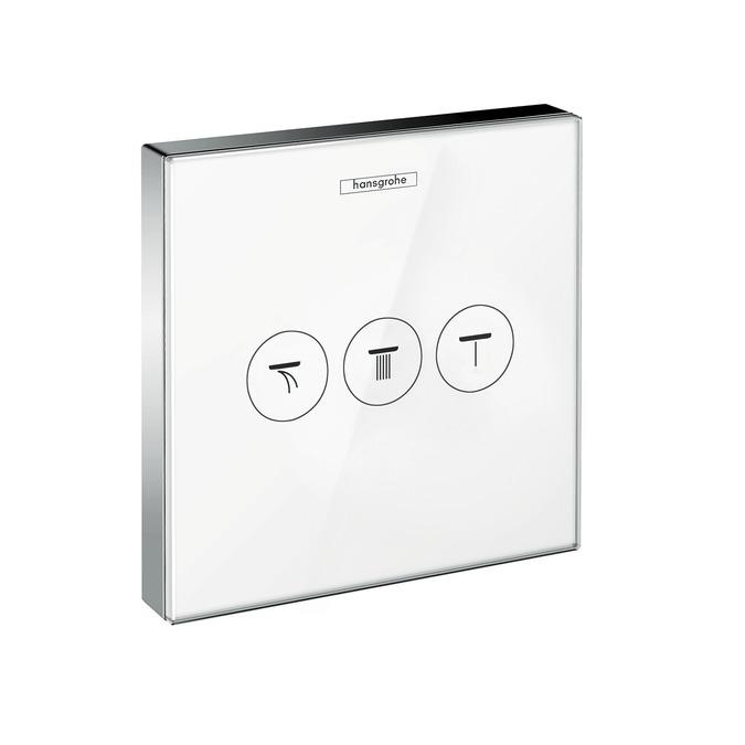 Hansgrohe ShowerSelect Glass afbouwdeel stopkraan met 3 stopfuncties wit-chroom-glas