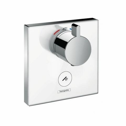 Hansgrohe ShowerSelect Glass afbouwdeel Highflow thermostaat met 1 stopfunctie en extra uitgang wit-chroom-glas