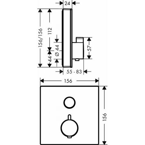 Hansgrohe ShowerSelect Glass afbouwdeel thermostaat met 1 stopfunctie wit-chroom-glas