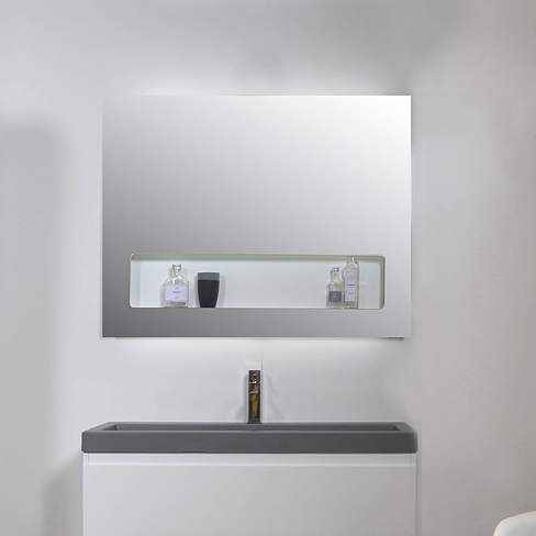 Ink spiegel SP8 70 x 80 cm met geïntegreerd planchet en indirecte LED verlichting boven/onder/binnen