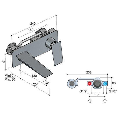 Hotbath Bro! 006 inbouw wastafelkraan met achterplaat geborsteld nikkel