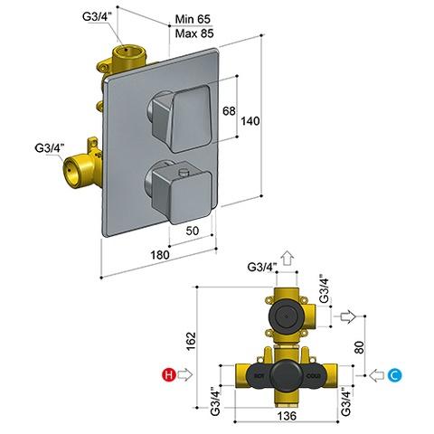 Hotbath Bro! 009 inbouw thermostaat met 2-weg stop-omstel geborsteld nikkel