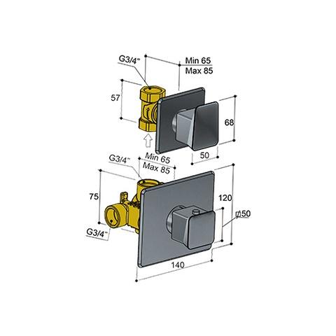 Hotbath Bro! 012 inbouw thermostaat met 1 stopkraan geborsteld nikkel