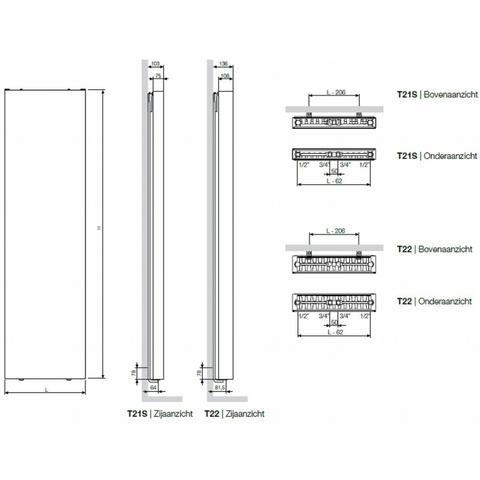 Vasco Flat-V-Line verticale radiator type 21s - 180x60 cm (H x L)