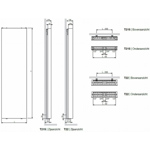 Vasco Flat-V-Line verticale radiator type 22 - 180x50 cm (H x L)
