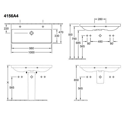 Villeroy & Boch Avento meubelwastafel 100cm met 2 kraangaten wit