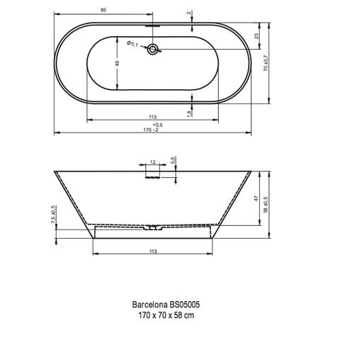 Riho Barcelona 170x70x58 Solid mat wit