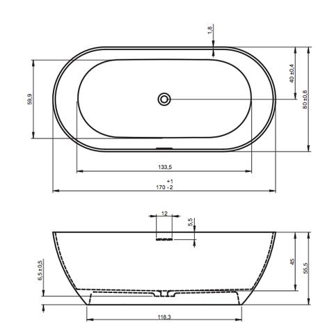 Riho Bilbao vrijstaand bad 170x80cm Solid Surface