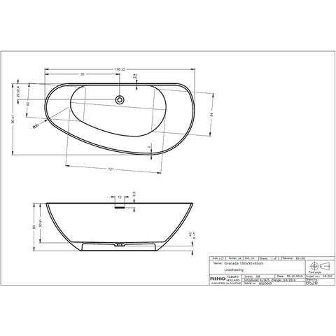 Riho Granada vrijstaand bad 190x90cm Solid Surface
