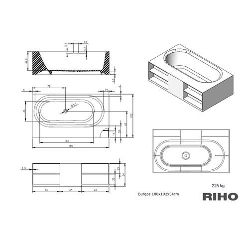 Riho Burgos vrijstaand bad 180x102cm Solid Surface met opbergvakken