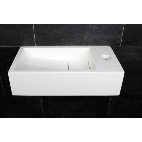 Luca Sanitair fontein 35x18,5x9cm - Mineral Stone - met kraangat - glans wit