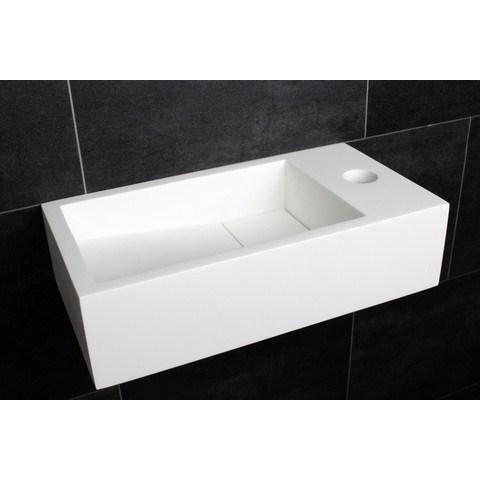 Luca Sanitair  fontein 35x18,5x9h in solid surface met kraangat l+r te plaatsen, ophang doorboren mat wit
