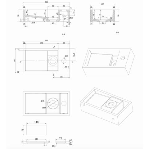 Luca Sanitair  fontein 35x18,5x9h in solid surface zonder kraangat, l+r te plaatsen, ophang doorboren mat wit
