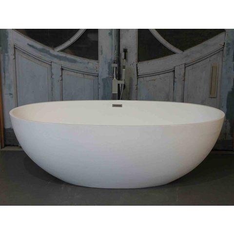 Luca Vasca vrijstaand bad 180x80cm ovaal Solid Surface mat wit