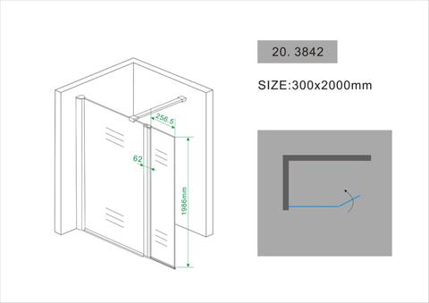 Wiesbaden Comfort draaibare zijwand met scharnierprofiel 30x200 cm