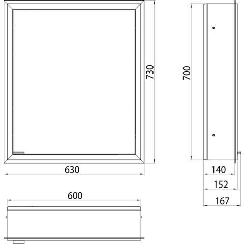 Emco Asis Prime inb.spiegelkast 60 1xdeur re.-led binnen witglas