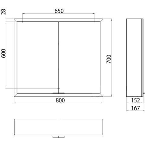 Emco Asis Prime spiegelkast 80 2 deuren -led verl.binnen witglas