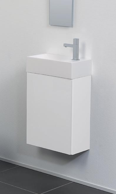 Ink Contra fontein polystone vierkant met kraangat links - Glans wit 400x220mm (bxd)