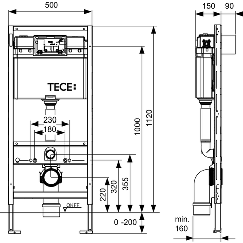 TeceProfil inbouwreservoir 112 cm