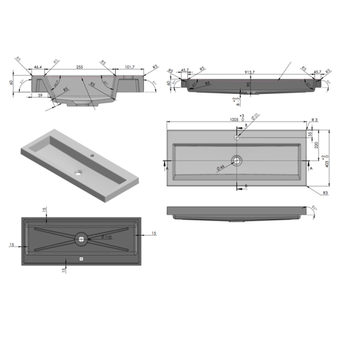 Ink Dock meubelwastafel 100x40 cm
