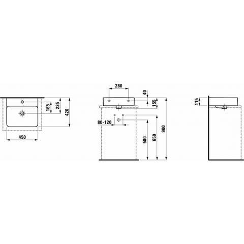 Laufen Val fontein 45x42 cm. 1x kraangat met overloop lcc wit