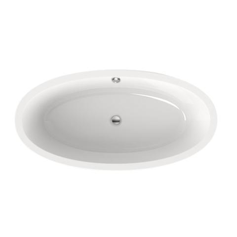 Xenz Britt 190x94x60 wit met afvoer/overloopcombinatie chroom