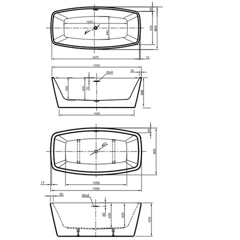 Xenz Moniek vrijstaand bad 170x80cm glans wit
