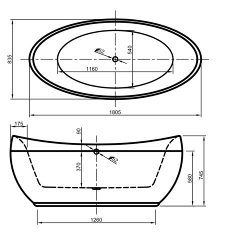 Xenz Stijn vrijstaand bad 180x84cm glans wit