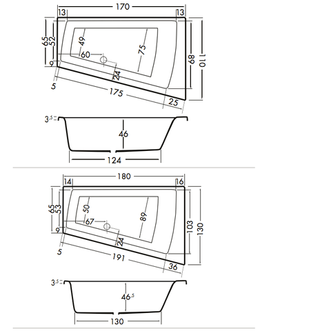 Xenz Palau bad 170x110cm wit asymmetrisch links