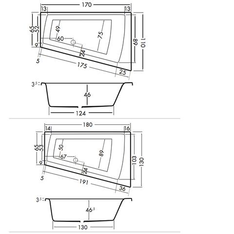 Xenz Palau bad 180x130cm wit asymmetrisch rechts
