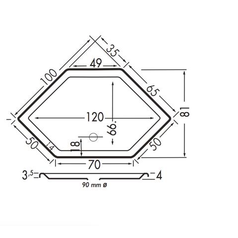 Xenz Honolulu douchebak zeshoekig 100x100cm Wit