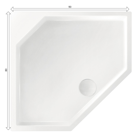 Xenz Marshall douchebak vijfhoekig 90x80cm Wit