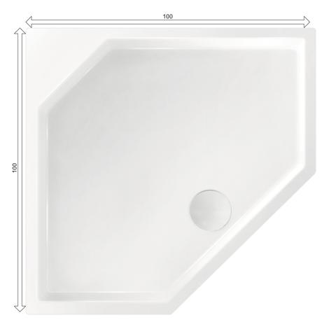 Xenz Marshall douchebak vijfhoekig 100x100cm Wit