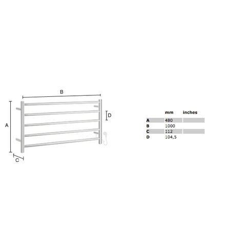 Smedbo Dry elektrische handdoekradiator breed 100 x 48 cm - 90 Watt - RVS