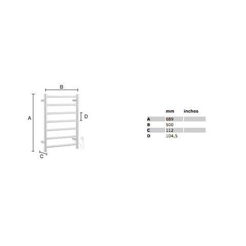 Smedbo Dry elektrische handdoekradiator compact 68,9x50 cm FK700