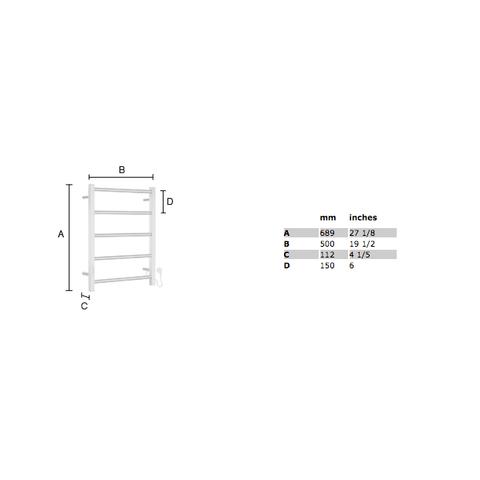 Smedbo Dry handdoekradiator compact 68,9x50 cm kubistisch FK705