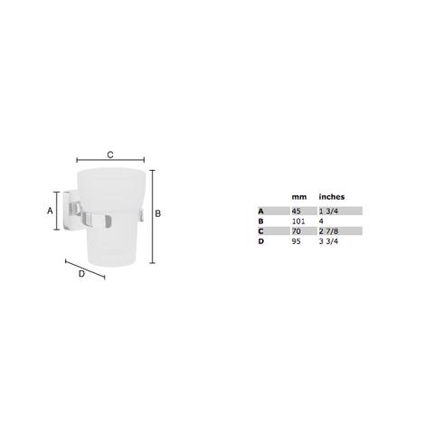 Smedbo Ice bekerhouder chroom met matglas glas