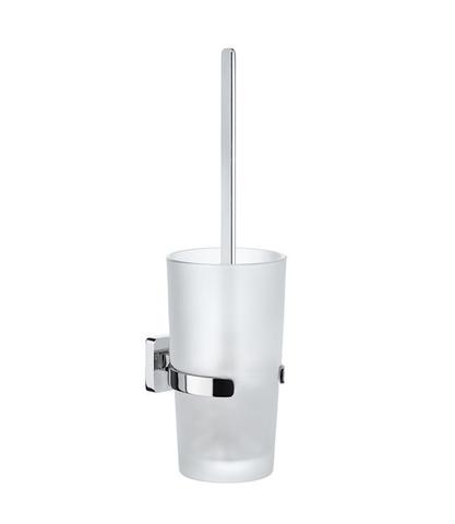 Smedbo Ice toiletborstelhouder chroom met matglas glas