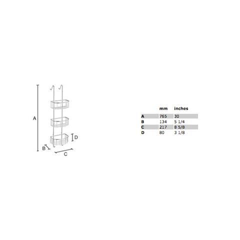 Smedbo Sideline douchekorf drie voor glasbevestiging chroom
