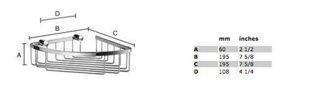Smedbo Sideline hoek douchekorf 19,5x19,5 cm chroom
