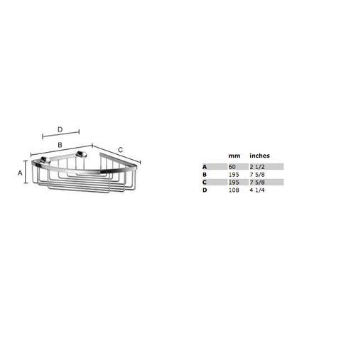 Smedbo Sideline hoek douchekorf 19,5x19,5 cm mat-chroom